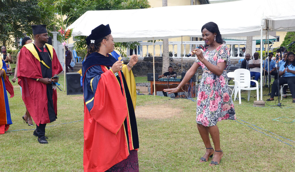 VC, Dr Biaka dancing to a gospel song during the ceremony